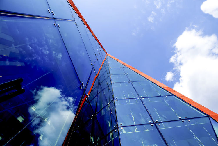 Modern architecture in Hamburg Architecture Blue Building Exterior Built Structure Clear Sky Connection Cropped Day Development Engineering Glass Glass - Material Low Angle View Modern No People Office Building Outdoors Part Of Technology