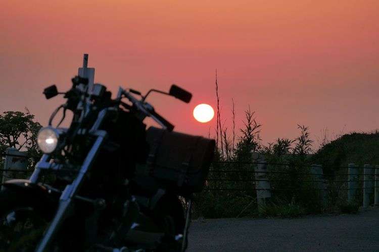 Summertime No Filter Moto Life EyeEm Nature Lover Eye Em Japanese View On The Road Sunset Transportation Sky Silhouette No People Mode Of Transportation Technology