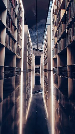 Reflection of library shelfs