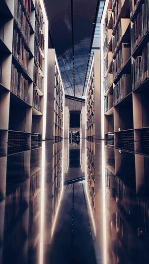 Reflection of library shelfs