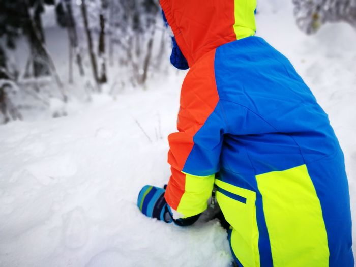 Rear view of person in snow