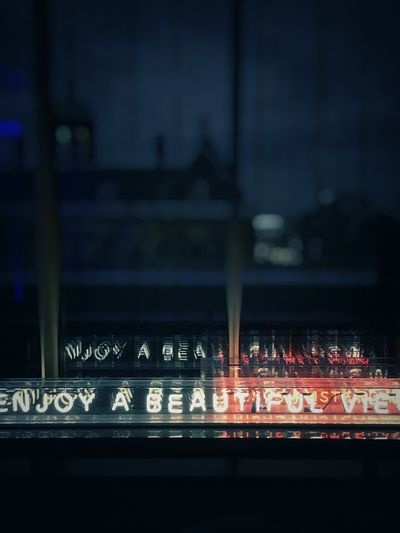 Text Communication Illuminated Night No People Outdoors Neon Architecture Close-up