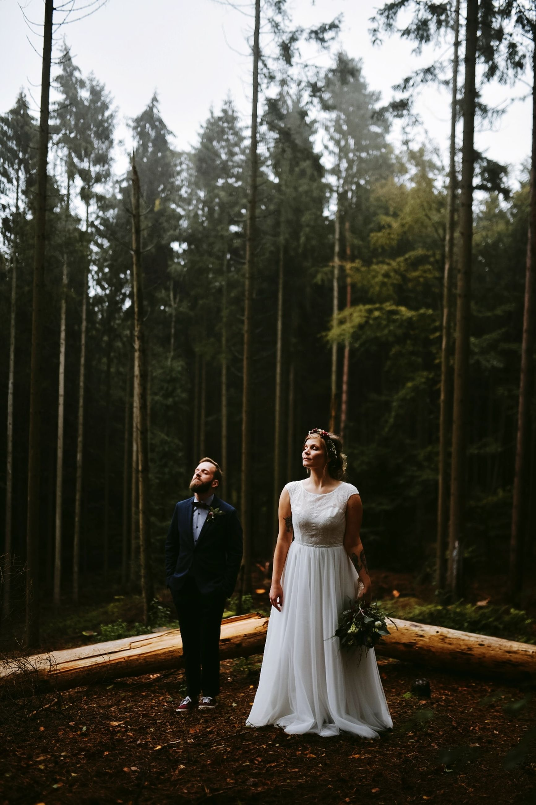 tree, wedding, plant, women, real people, forest, celebration, bride, newlywed, event, adult, lifestyles, wedding dress, full length, land, married, togetherness, nature, love, bridegroom, couple - relationship, positive emotion, woodland, outdoors