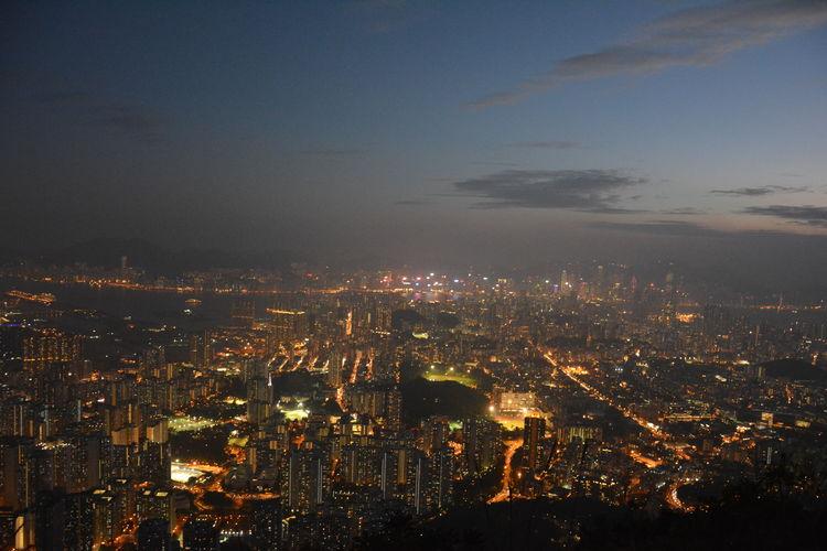 City Cityscape High Angle View Hong Kong Illuminated Lion Rock Lion Rock In Hong Kong Travel Travel Destinations