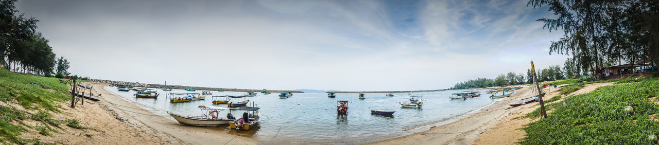 Beach Beauty In Nature Clouds And Sky Fisherman Boat Fishermanboats Getty Images Gettyimages Horizon Landscapes With WhiteWall Ocean Outdoors Panorama Panoramic View Scenics Seascapes Shore Stitched Tranquil Scene Tranquility Ultra Wide Angle Water