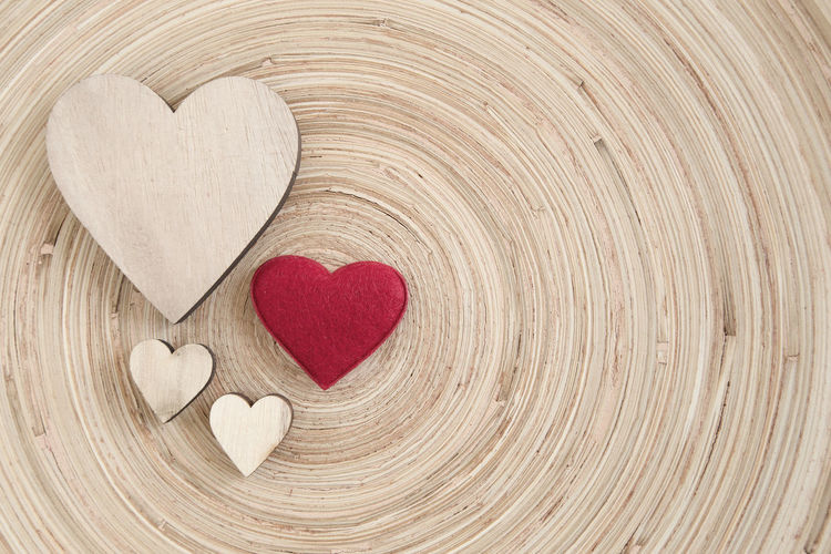 Directly above shot of heart shape made on wood