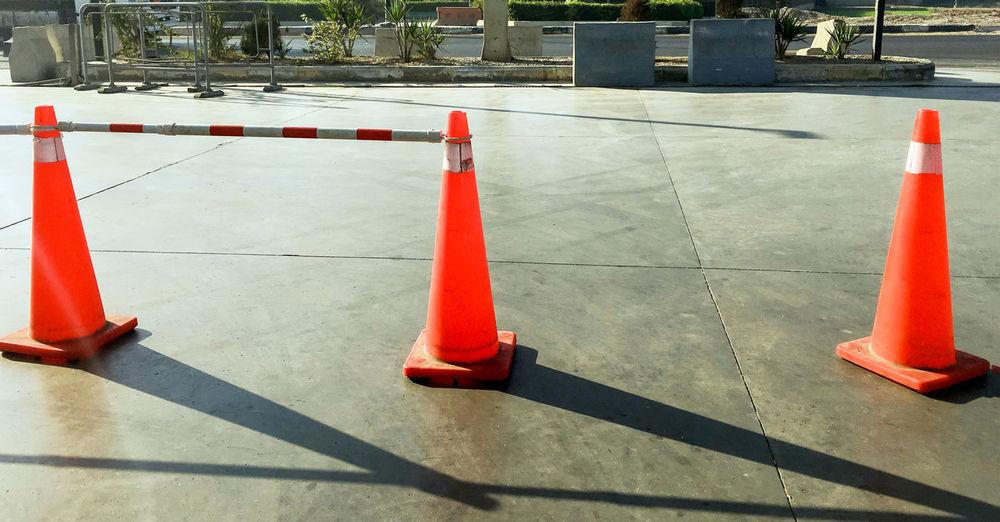Construction Red Road Stripes Warning Signs  Barrier Cones Equipment Outdoors Protection Red Road Cones Safe Safety Saftey Street Symbol Three Traffic Cone Warning Warning Sign Warning Signal Warning Symbol Warning! Warnings
