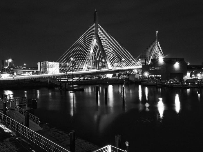 Zeacombe Bridge Bridge - Man Made Structure Bridge Massachusetts Black And White Photography Black And White Eye Em Eye Em Best Shots Eye Em Selects Man Made Structure Night Photography Nightphotography Long Exposure City Water Illuminated Sky Architecture Building Exterior Built Structure Light Trail Suspension Bridge