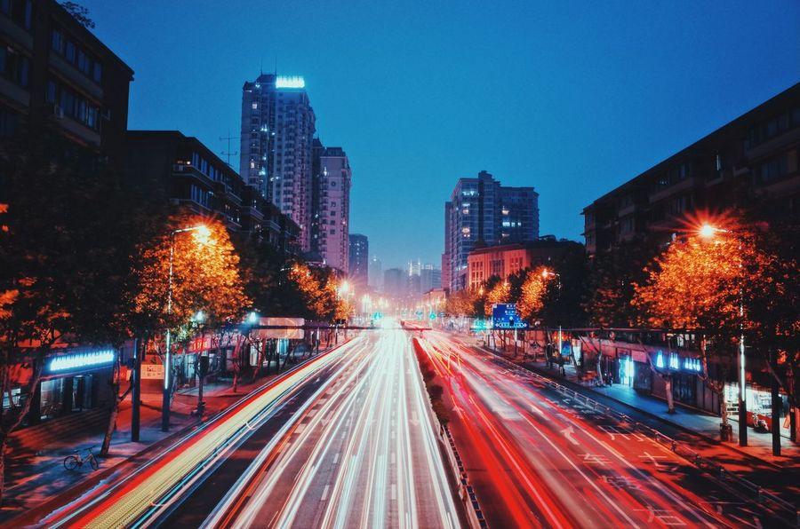 Gr City Illuminated Night Building Exterior Architecture Motion Street Street Light