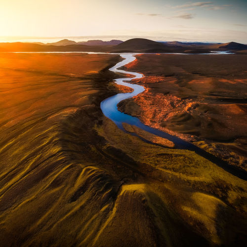 Scenics - Nature Beauty In Nature Water Tranquil Scene Environment Sunset No People Mountain Non-urban Scene Volcanic Crater Outdoors Travel Destinations Landscape Land Remote Volcano River Iceland Iceland_collection Highlands Landscape_photography Aerial View Drone  Mavic Air EyeEm Best Shots