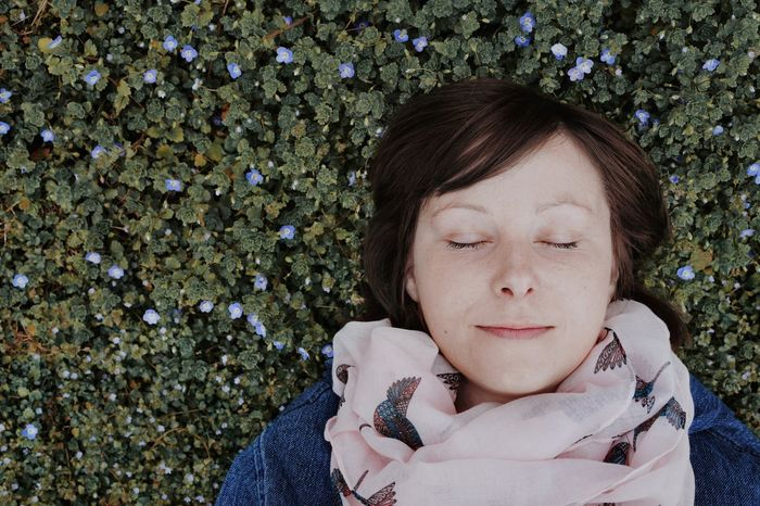 Flower Field People One Person One Woman Only Flower Portrait High Angle View Young Women Eyes Closed  Close-up Grass Blooming Cosmos Flower Fragility Growing