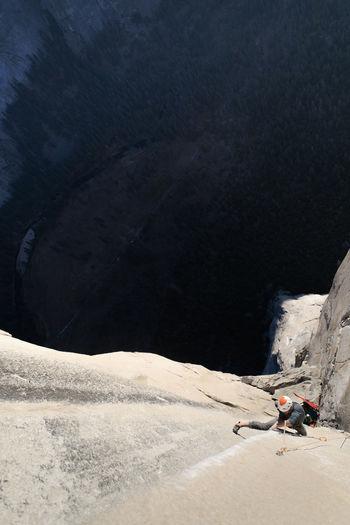 High angle view of people on rocks