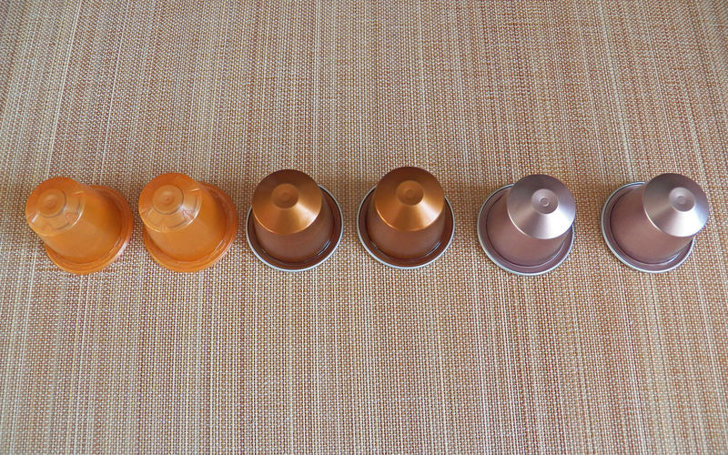 Alignment Shells Coffee Pods In A Row Orange Brown Grey Autum Colors Autumn🍁🍁🍁 Autumn Theme Capsules Orange Marron Gris Cones 16x10 Photography