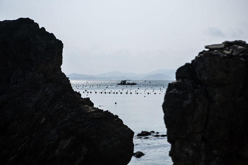 Haenam Land End Village Korea Sea Rock Ship Horizon