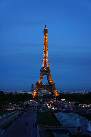 Tower City Blue Travel Destinations Cultures War Sky Night Outdoors Cityscape No People Eiffel Tower Paris, France