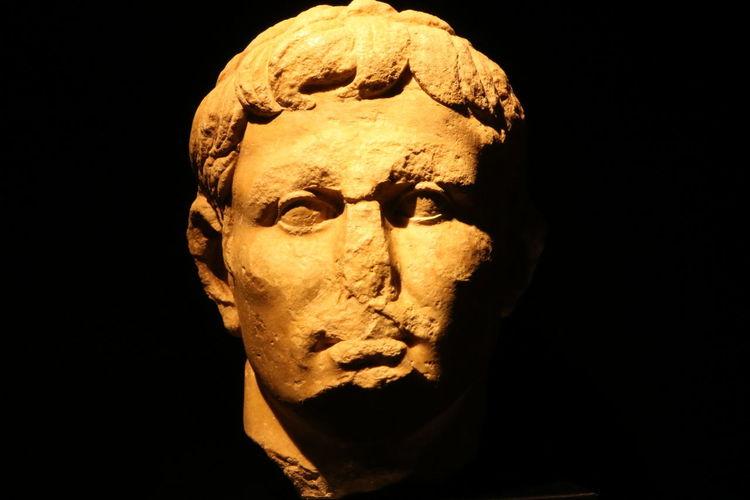 Roman Empire Conimbriga Human Face Stone Art Blackandgold