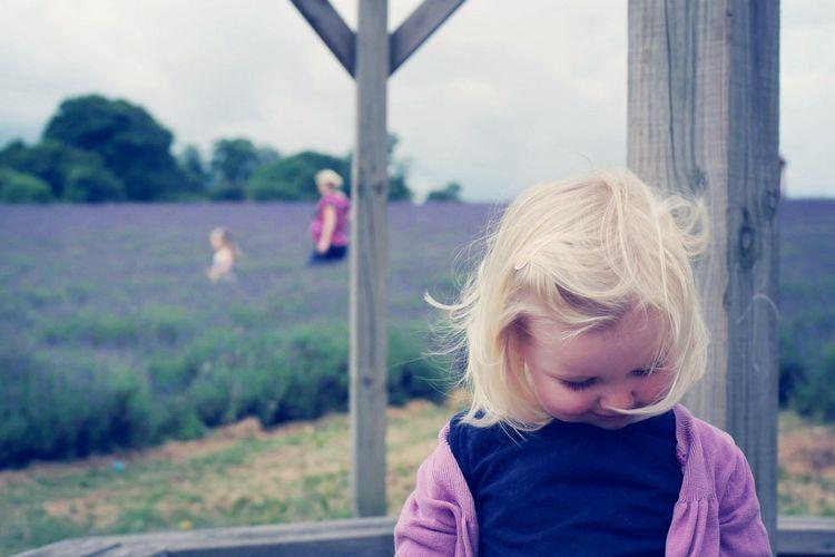 Hidden smile Child Portrait Girl Lavender