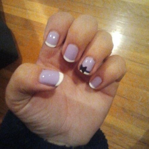 Purple Frenchtip Blackbow Ribbon nailsbyme