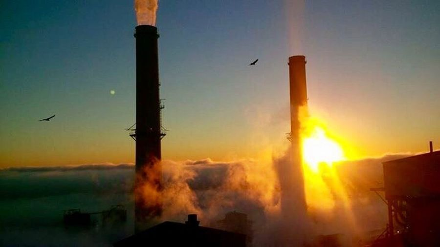 Sunset No People Silhouette Smoke - Physical Structure Metal Industry Outdoors Sky Power Plant Check This Out Fog Foggy Morning Head Above The Clouds Cool