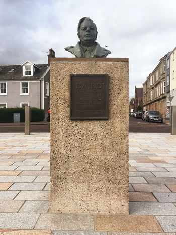 Bust of the man who brought us television 🖥🎗🖥 John Logie Baird, born in Helensburgh Statue Bust  Inventor Tribute Portrait Architecture Building Sky Art Outdoors Day
