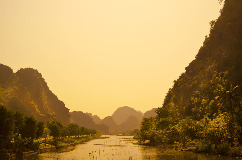 Scenic View Of Halong Bay Against Clear Sky