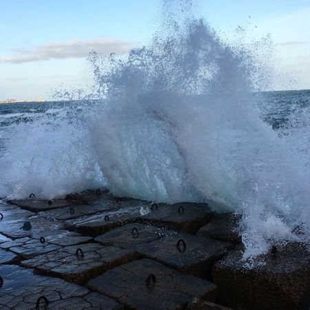 Crashing waves Water Beauty In Nature Sea Wave Power In Nature Motion Sky Nature Power Splashing No People Beach Outdoors Rock - Object