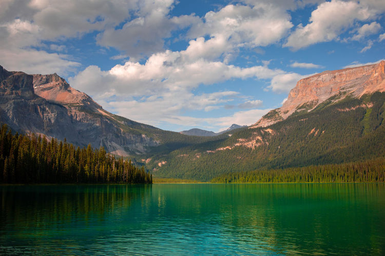 Evening at emerald lake in august