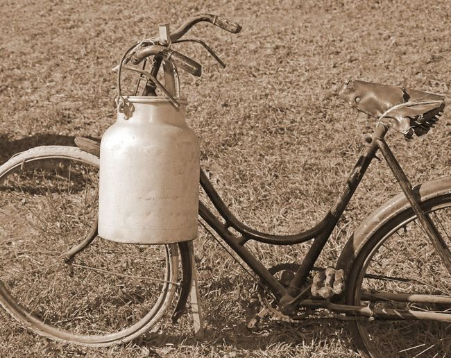 ancient bicycle milkman with the old bin of aluminum cans and sepia effect Ancient Dairyman Milkman Transport Transportation Wheel Bicycle Bicycles Of Amsterdam Bicycling Bike Biker Carry Cyclephotography Cycles Cycling Dairy Product Deliver Drink Food Milk Bin Milk Churn Milk Churns Milking Old Sepia