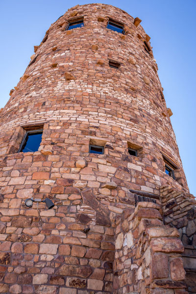 Desert View Tower at Grand Canyon Arizona Brick Wall Desert View Tower Grand Canyon Architecture Brick Brick Wall Building Building Exterior Built Structure Clear Sky Day History Low Angle View No People Old Outdoors Sky Stone Wall The Past Tourism Travel Wall