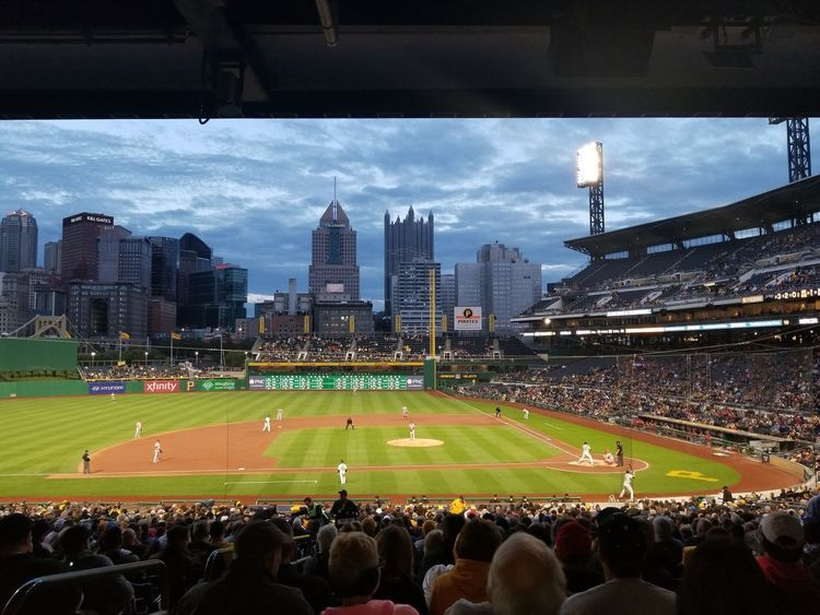 PNC Park Baseball Stadium Pittsburgh Pennsylvania City Pittsburgh Pirates Spectator Outdoors Cityscape Baseball Game Baseball - Sport Stadium Watching Audience Sports Team Team Sport Match - Sport Sports Event  Leisure Activity Skyscraper Fan - Enthusiast Crowd Large Group Of People Arts Culture And Entertainment Sky Colour Your Horizn