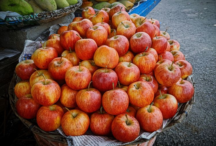 High angle view of apples in market
