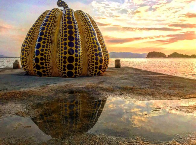Water Reflection Sky Cloud - Sky Outdoors No People Nature Day Sunset Sea Beauty In Nature Close-up 直島 草間彌生 くさまやよい Pumpkin 😚 Art Japan