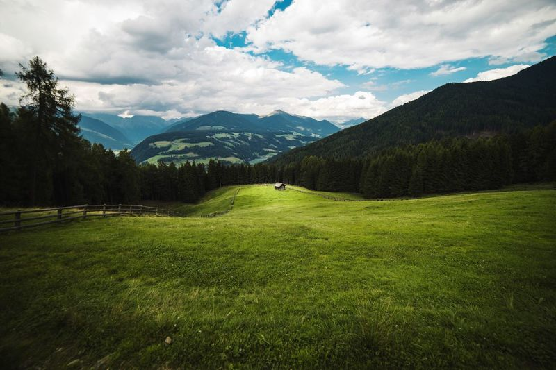 Mountain Nature Cloud - Sky Sky Beauty In Nature Grass Green Color The Week On EyeEm Scenics Tranquil Scene Mountain Range Landscape Outdoors Day Tree Growth No People Alm Malga Farm Mountain View