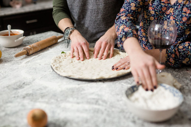 Cooking At Home Love Adult Domestic Room Dough Flour Flourish Food Food And Drink Freshness Hand Homemade Human Hand Indoors  Kitchen Kitchen Utensil Making Pizza At Home Midsection People Preparation  Preparing Food Rolling Pin Selective Focus Table Women EyeEmNewHere
