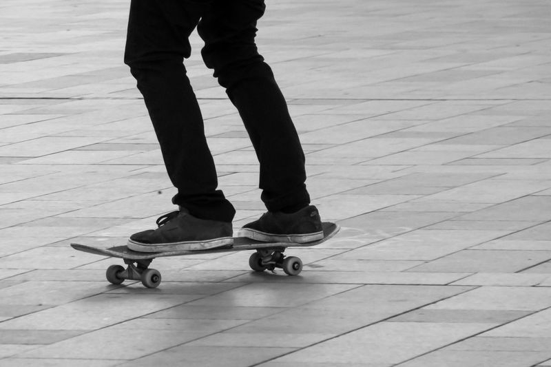 Low section view of person skateboarding