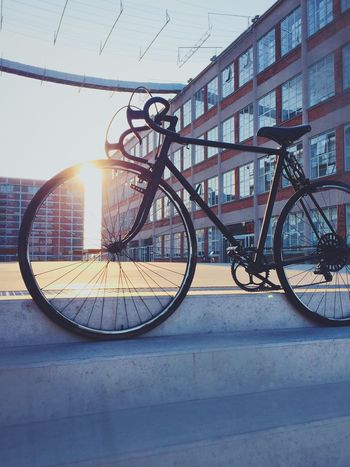 New bike... Bike Newbike Bicycle Bicycling Sun Sunset Industrial Zlin Factory Library Transportation Architecture Lens Flare Sky