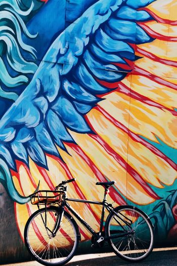 Colorful wall Transportation Tranquil Scene Full Length Full Frame Full Frame Shot Art Stine Hvid Painting Painted Wall Graffiti Wall Graffiti Art Graffiti Lifestyles Citylife Colorful Outdoors Still Parked Bicycle Parking Bicycle Transportation Blue Land Vehicle Multi Colored Outdoors Day No People Sport