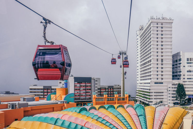 Cable car by buildings against sky in city