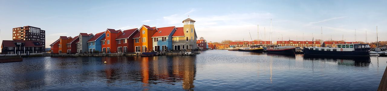 Reitdiep Harbour Harbour View Colourful Rainbow Colors Rainbow Harbor Water Reflection Sky Travel Destinations No People Outdoors Nautical Vessel Harbor Scenics Day