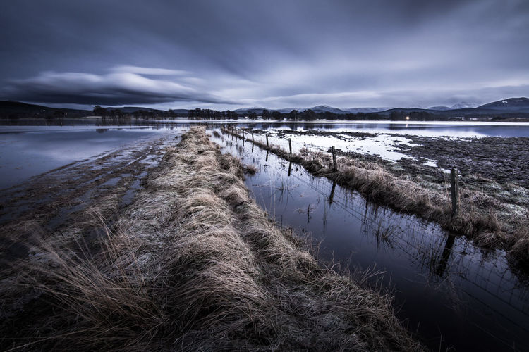 Tranquil view of wet landscape