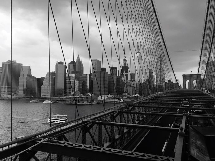 Adapted To The City Brooklyn Bridge / New York City Architecture Built Structure Strength Outdoors Skyscraper Cityscape Day Bridge Prospective Low Angle Blackandwhite