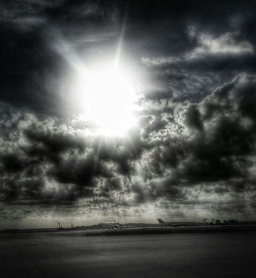 Dull Shiner Blackandwhite Black And White Sky Airplane View Sun Sunlight Shine Glow