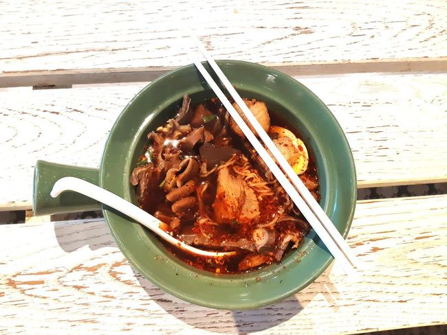 noodle Table Bowl High Angle View Close-up Food And Drink