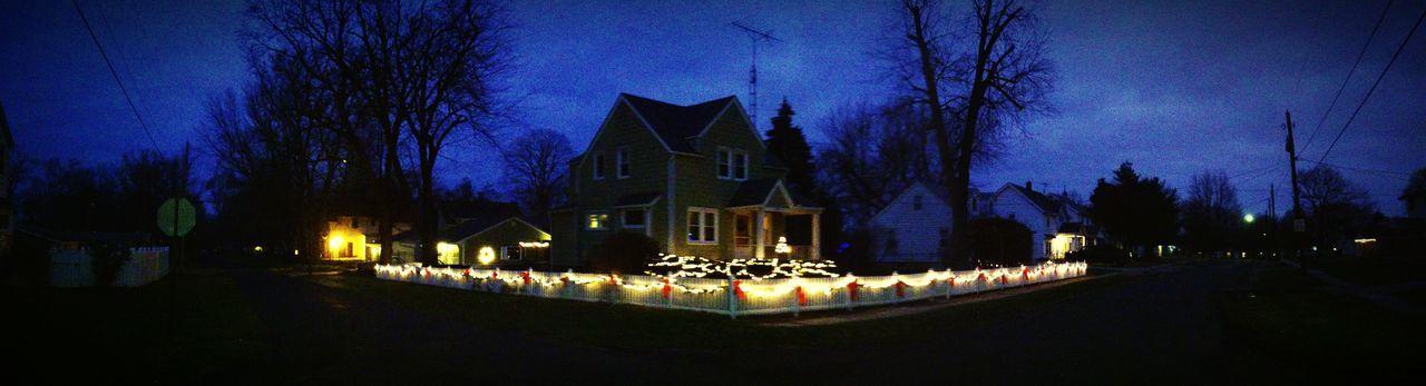 Christmas Lights Christmas Decorations Christmas Time Neighborhood Streetcorner House Nightphotography Night