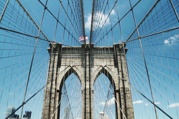 Architecture New York New York City Bridge Lines Architecture Architecture Lines Faszination Travel Destinations City Sky No People Day Sunny Day EyeEmNewHere Big Cities Built Structure Bridges Poster