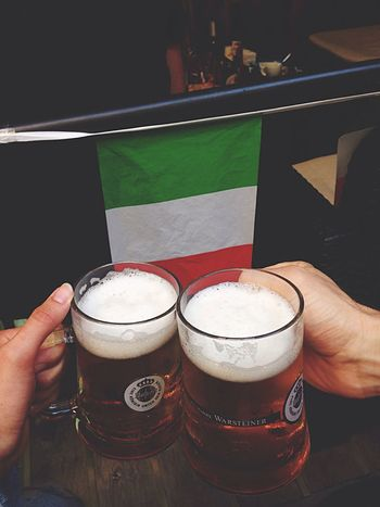 People Together Enjoying Life Beer Lovers Italy Holidays Couple Flag