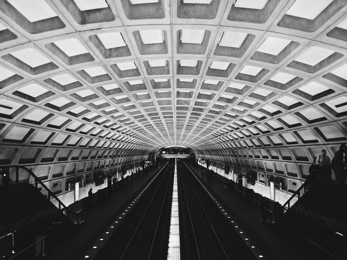 Black And White Train Station Platform Train Station Indoors  Built Structure Architecture No People Day