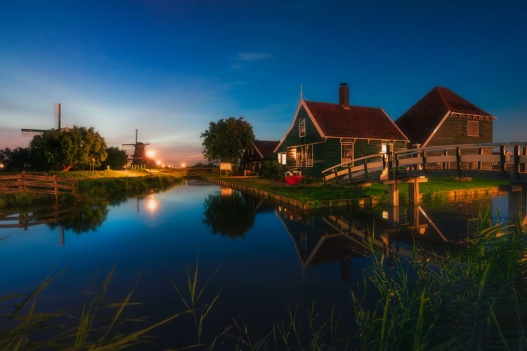 Remo SCarfo Water Architecture Reflection Built Structure Plant Sky Building Exterior Building Lake Tree House Nature No People Blue Illuminated Waterfront Tranquility Residential District Night Outdoors EyeEm Best Shots Zaanse Schans Dutch Amsterdam Holland