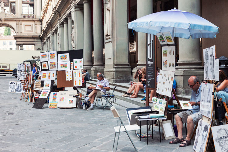 City Life City People Outdoors Day Florence Florence Italy Artists Painters Uffizi Street Street Artist Selling