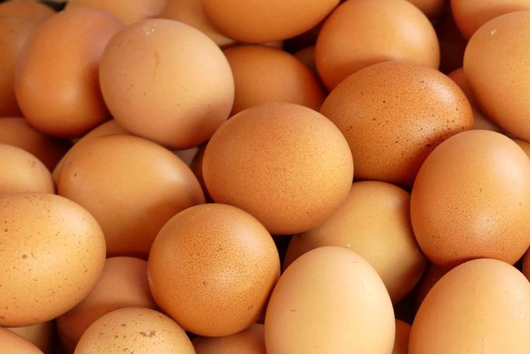 Close up of Fresh Eggs Background Brown Carton Close Up Eggs Food Fresh Full Frame Large Group Of Objects No People Whole Egg